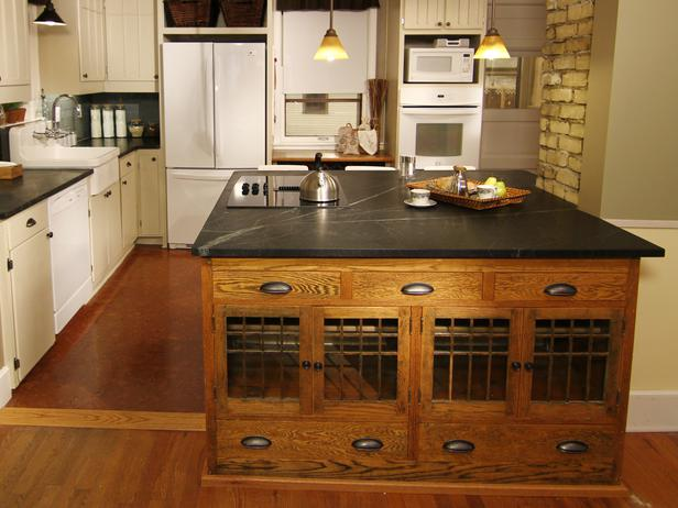 Black kitchen island with seating photo - 3