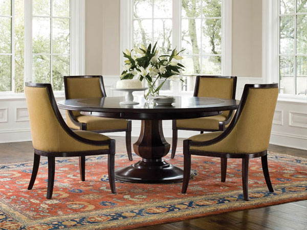 Black round kitchen table and chairs photo - 3