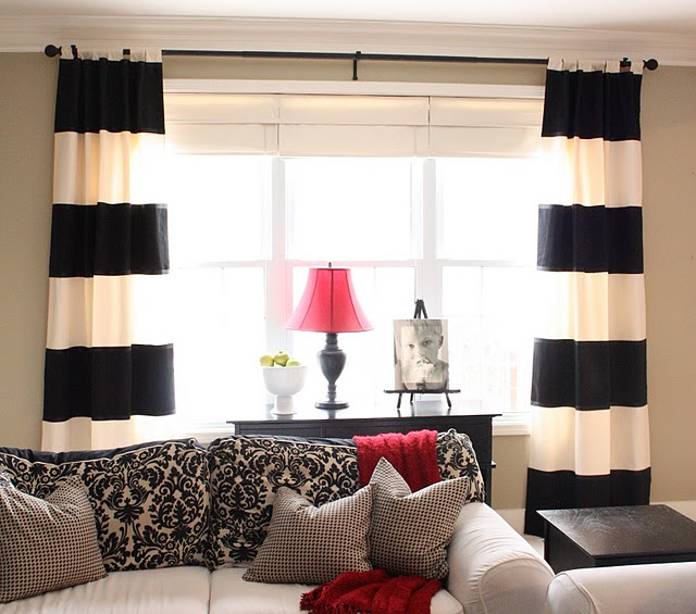White Curtains black and white curtains for bedroom : Black And White Striped Kitchen Curtains - Best Curtains 2017