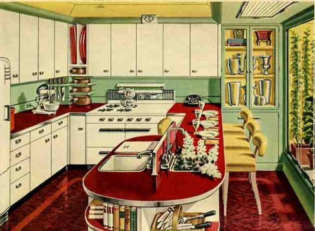 10 Photos To Blue Retro Kitchen