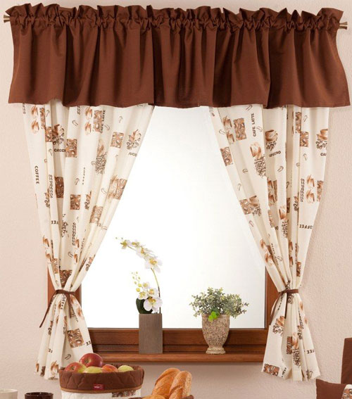 Coffee curtains for kitchen photo - 2