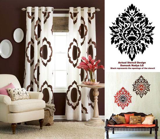 Damask kitchen curtains photo - 3