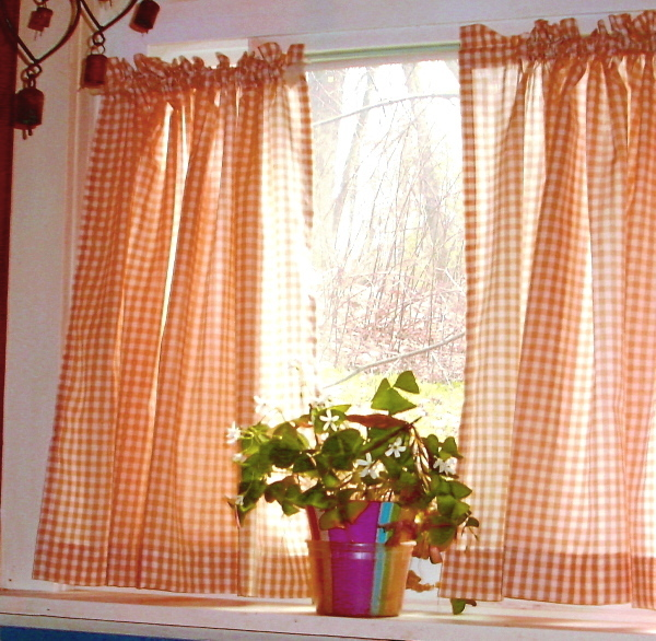 Gingham kitchen curtains photo - 1