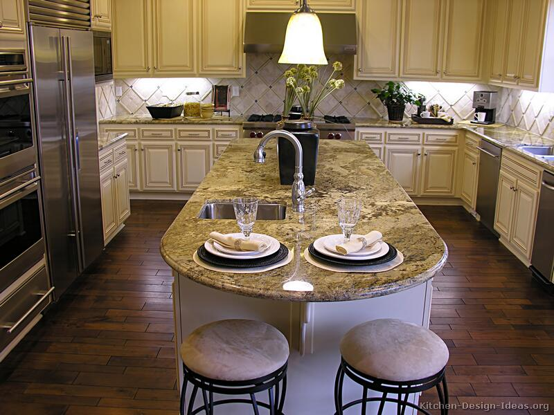 Granite top kitchen island with seating photo - 1