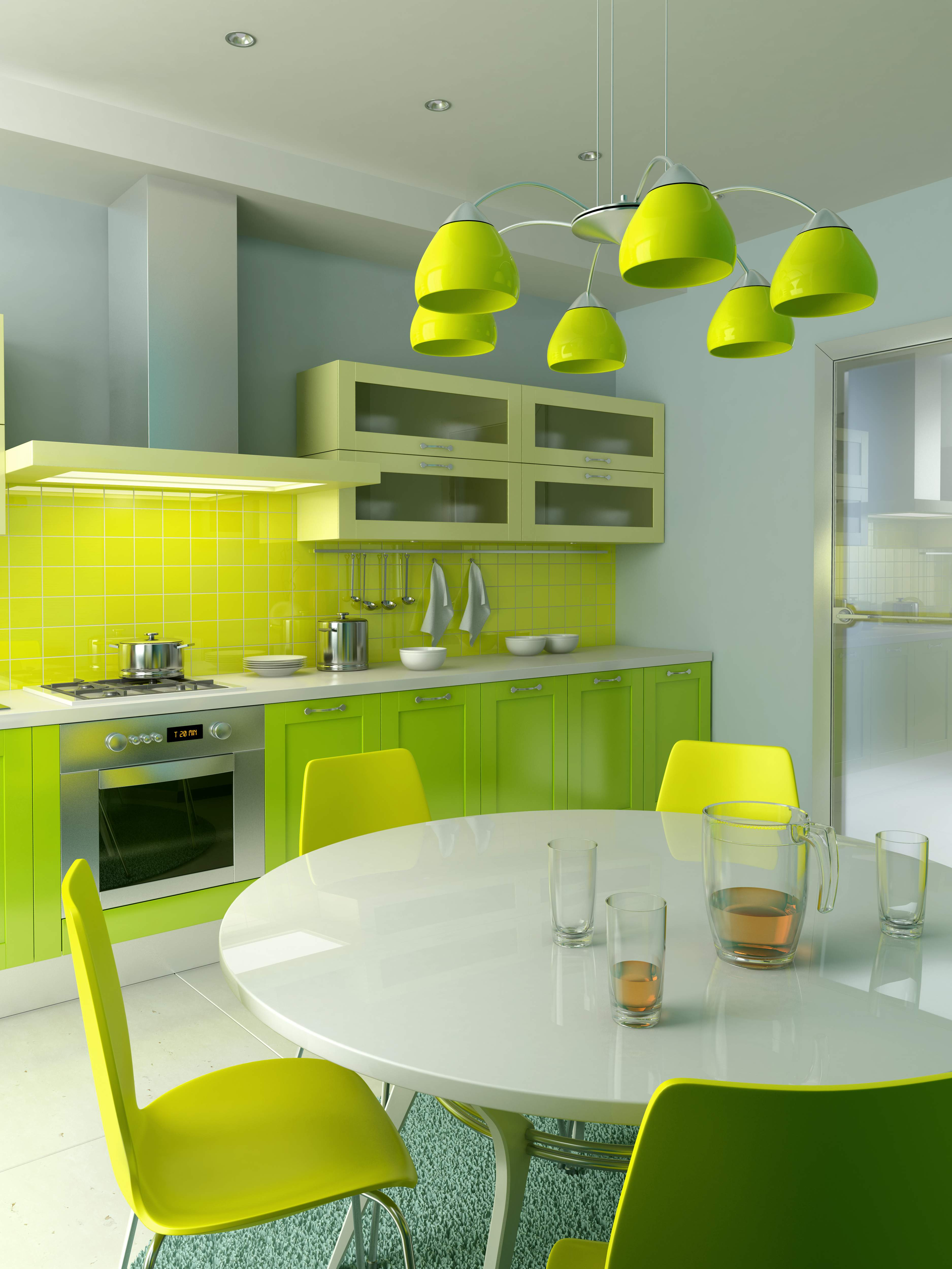 Green kitchen chairs photo - 2