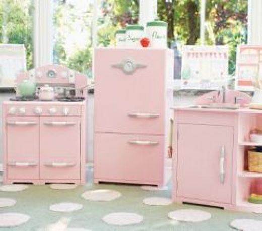 Kidkraft pink retro kitchen and refrigerator photo - 1
