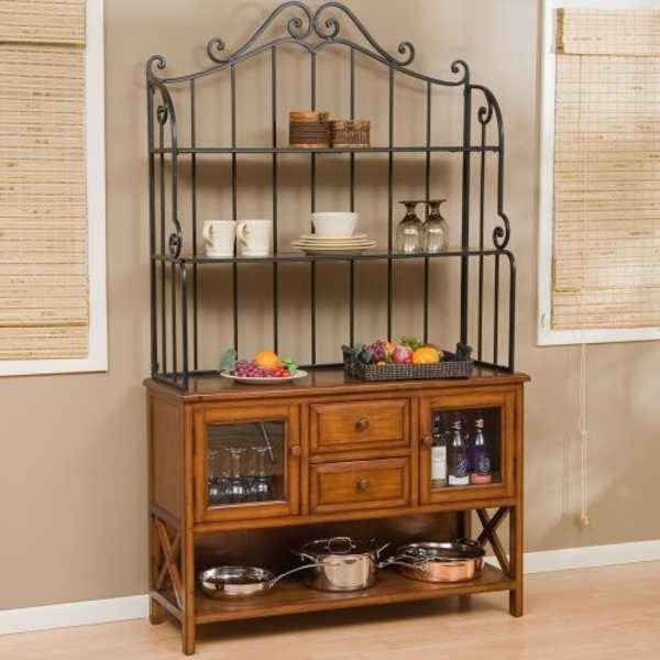Kitchen bakers rack cabinets photo - 2
