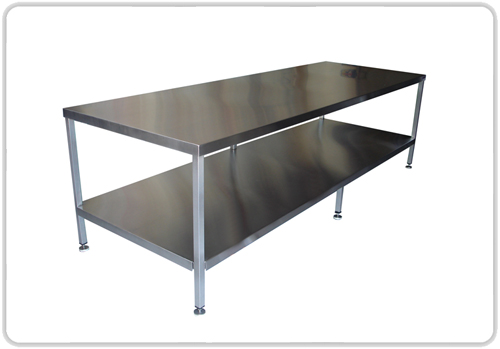 Kitchen cart with stainless steel top photo - 3