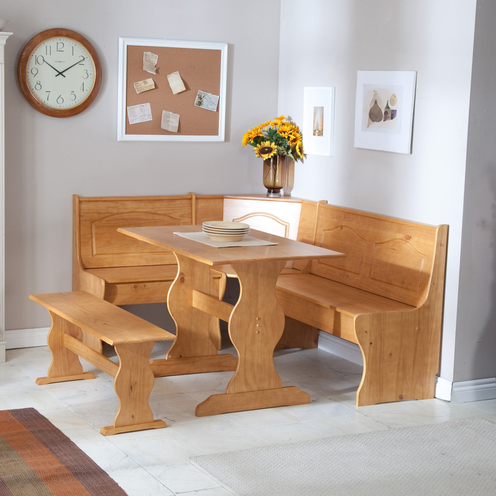 Kitchen corner table with bench photo - 2