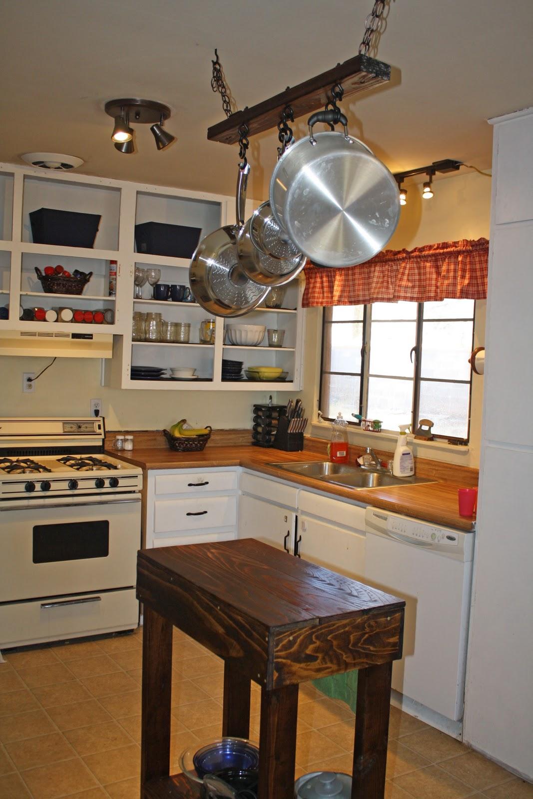 Kitchen island pot rack photo - 1