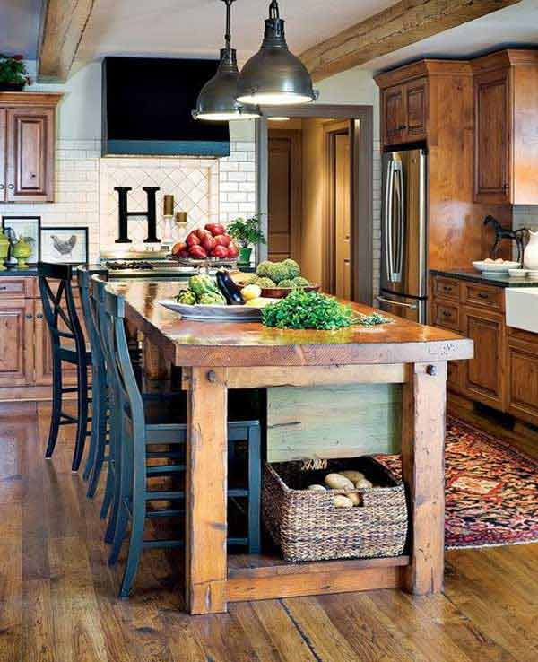 Rustic kitchen island design