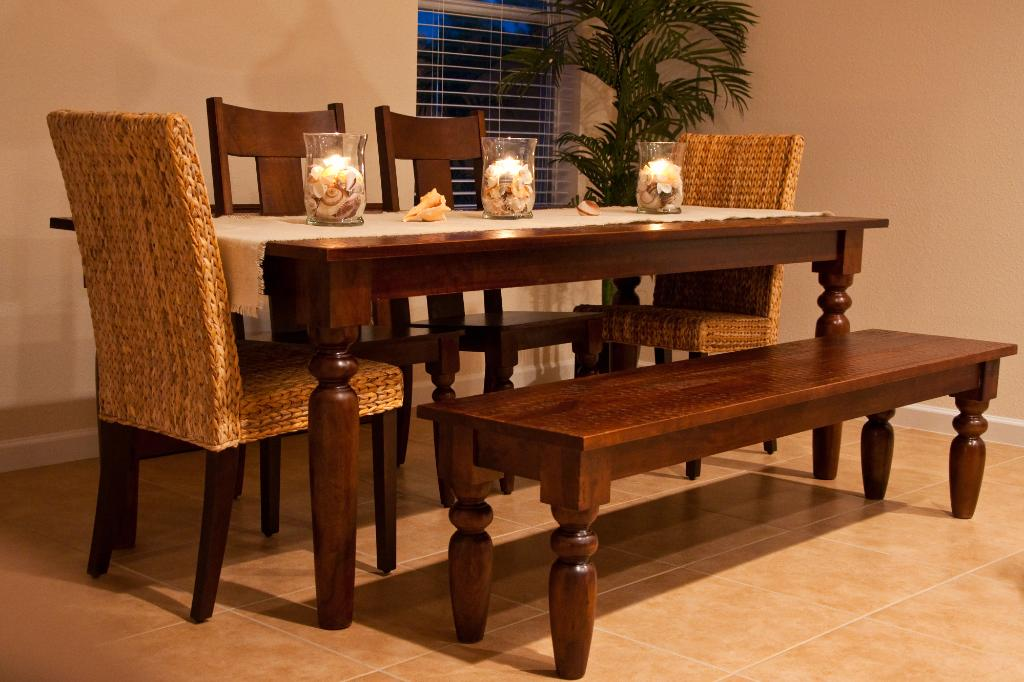 Kitchen table sets with bench seating photo - 2