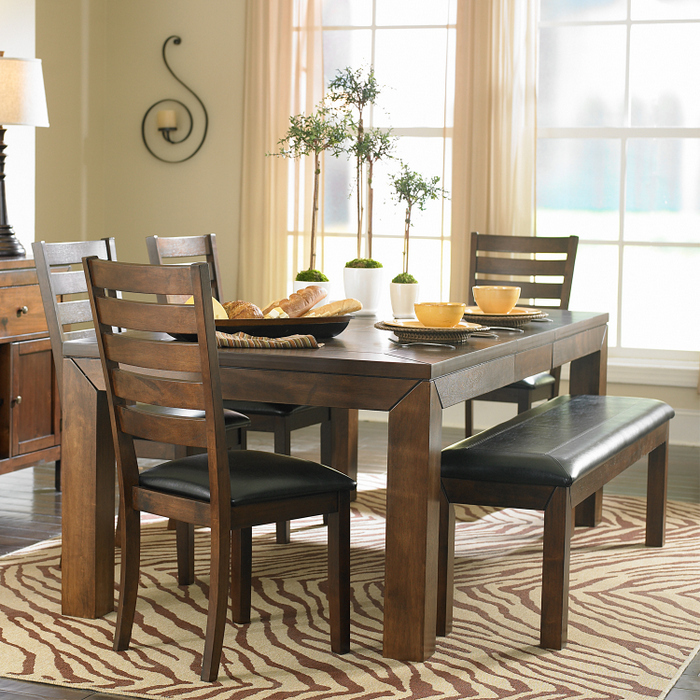 Kitchen table with bench and chairs photo - 3