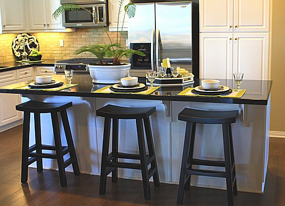 Kitchen table with stools underneath photo - 2