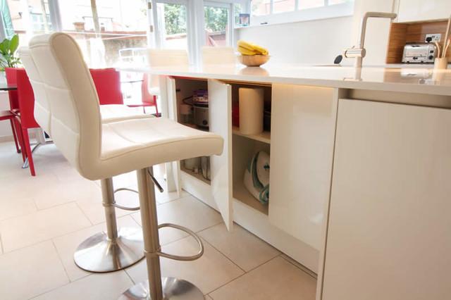 Meryland white modern kitchen island cart photo - 3