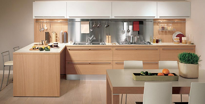 Natural wood kitchen island photo - 1