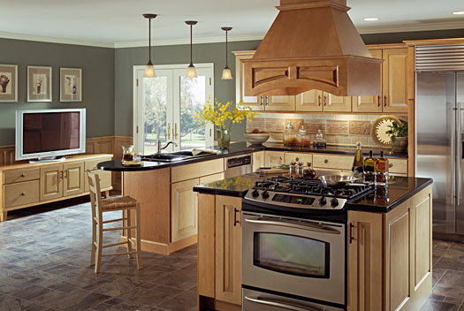 Natural wood kitchen island photo - 2