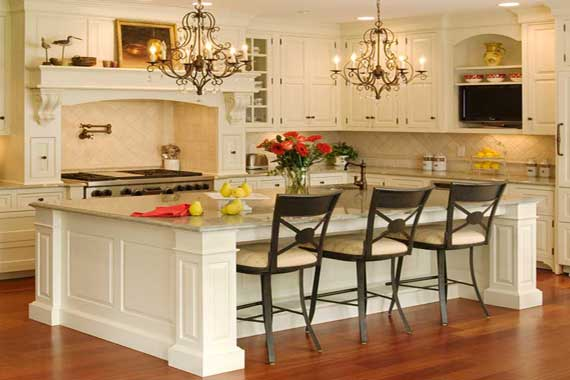 Portable kitchen islands with breakfast bar photo - 1