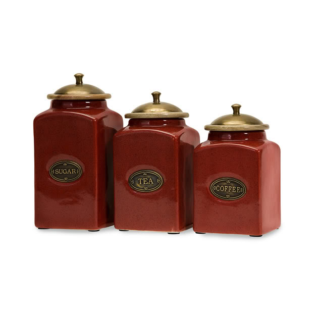 Red canister sets for kitchen photo - 1