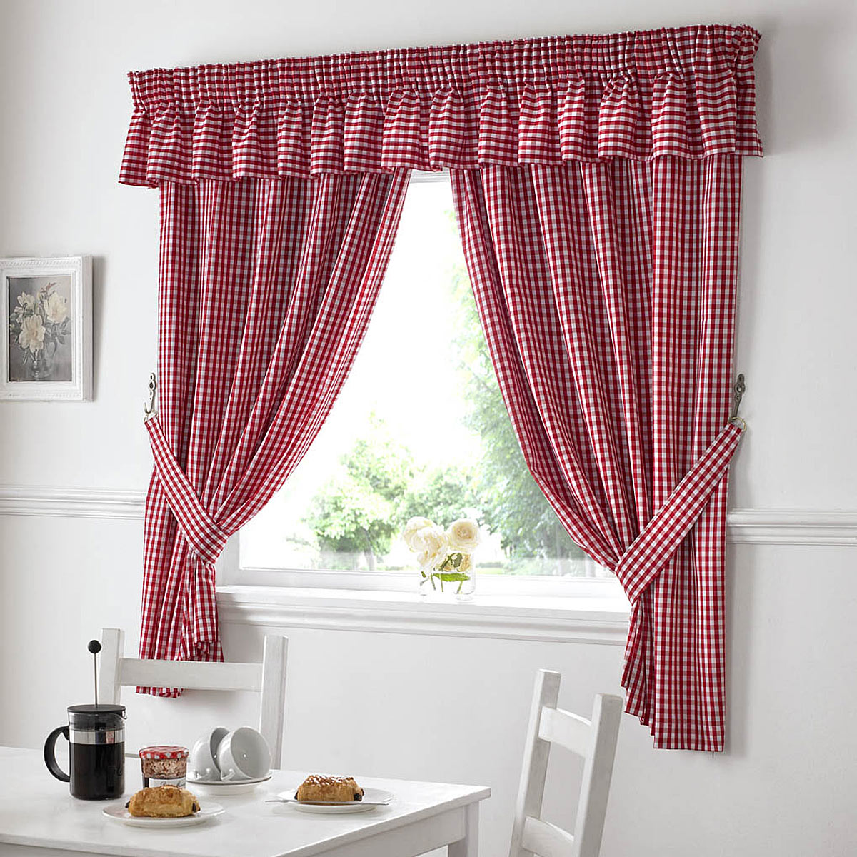 10 photos to red gingham kitchen curtains