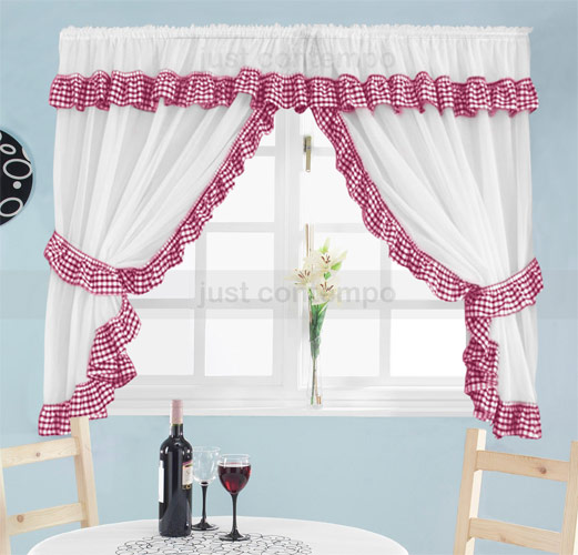 Red gingham kitchen curtains photo - 3