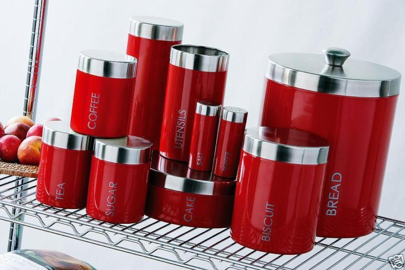 red kitchen canister sets kitchen ideas ForKitchen Set Red