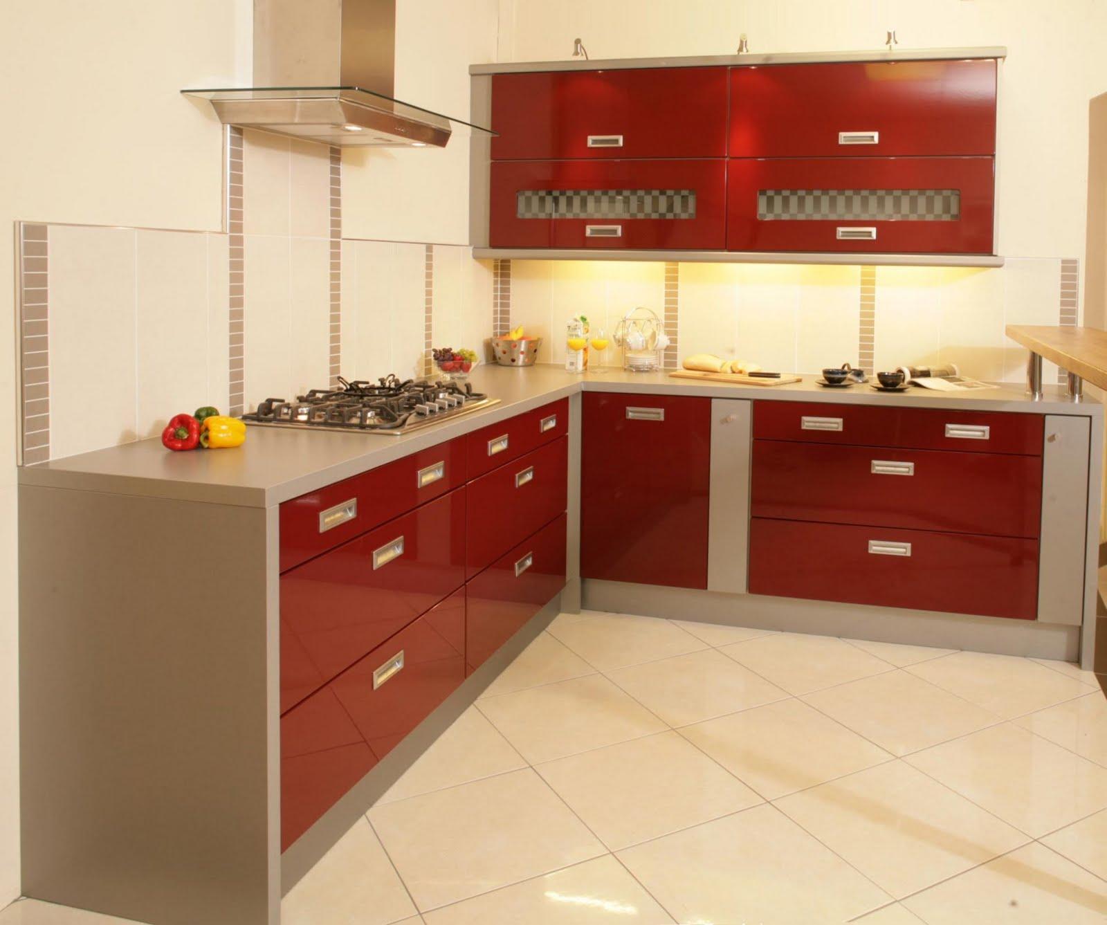 Red kitchen set photo - 1