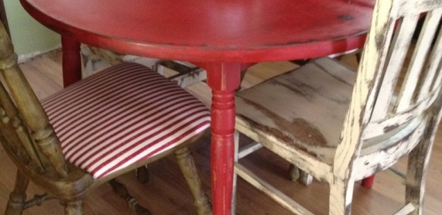 Red kitchen table and chairs photo - 2