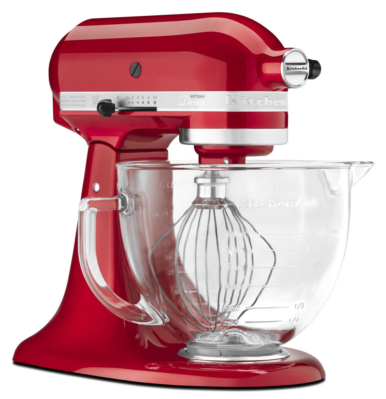 Red kitchenaid hand mixer photo - 3