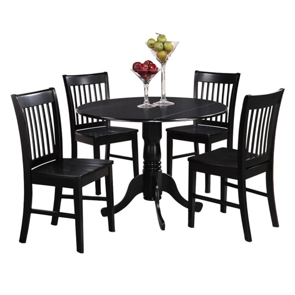Round black kitchen table and chairs photo - 3