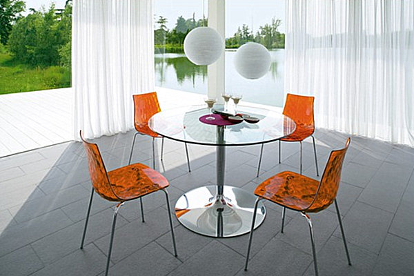 Round glass kitchen table sets photo - 1