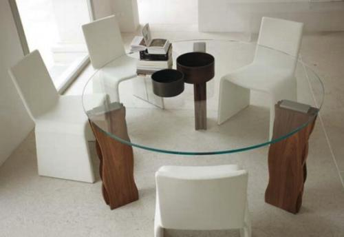 Round glass kitchen table sets photo - 3