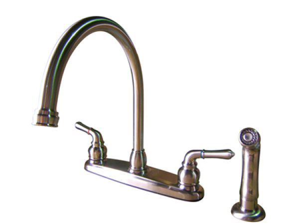 Satin nickel kitchen faucet photo - 2