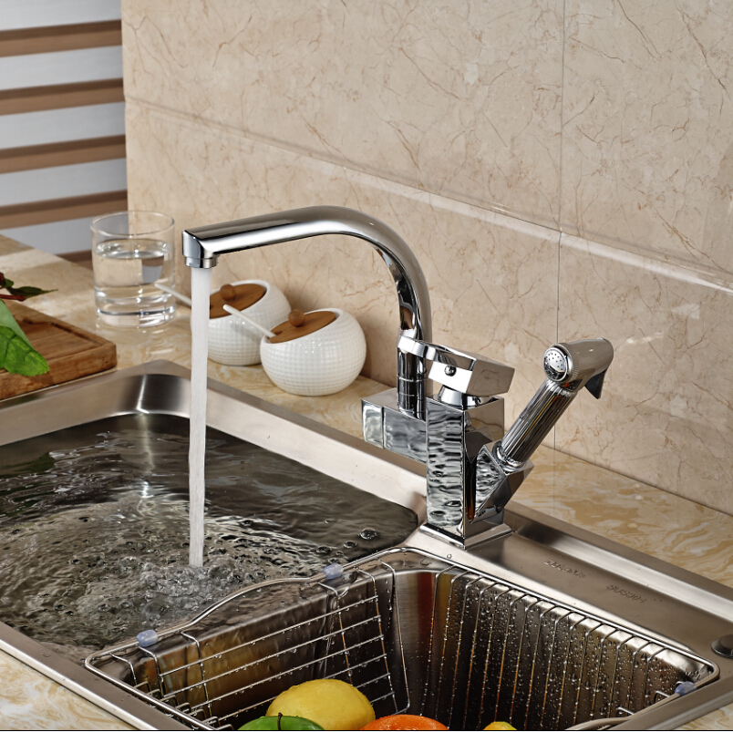 Single handle kitchen faucet with sprayer photo - 1
