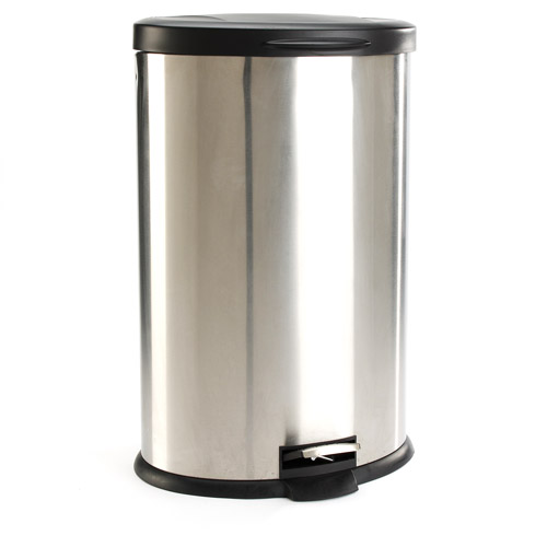 Stainless kitchen trash can photo - 2