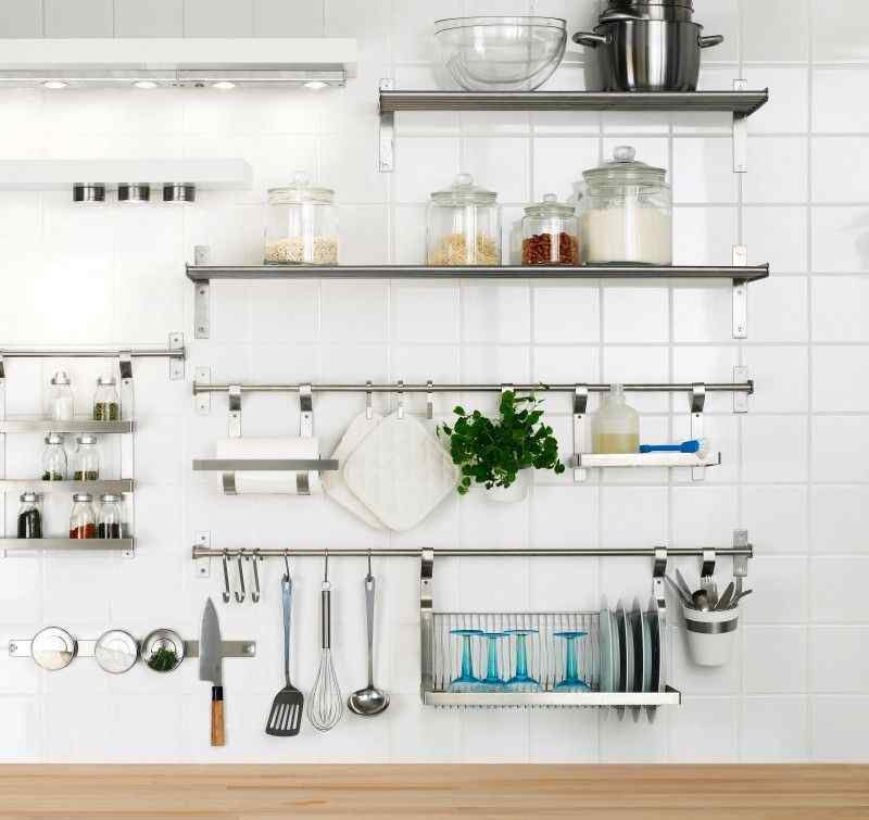 Stainless steel kitchen shelves photo - 3