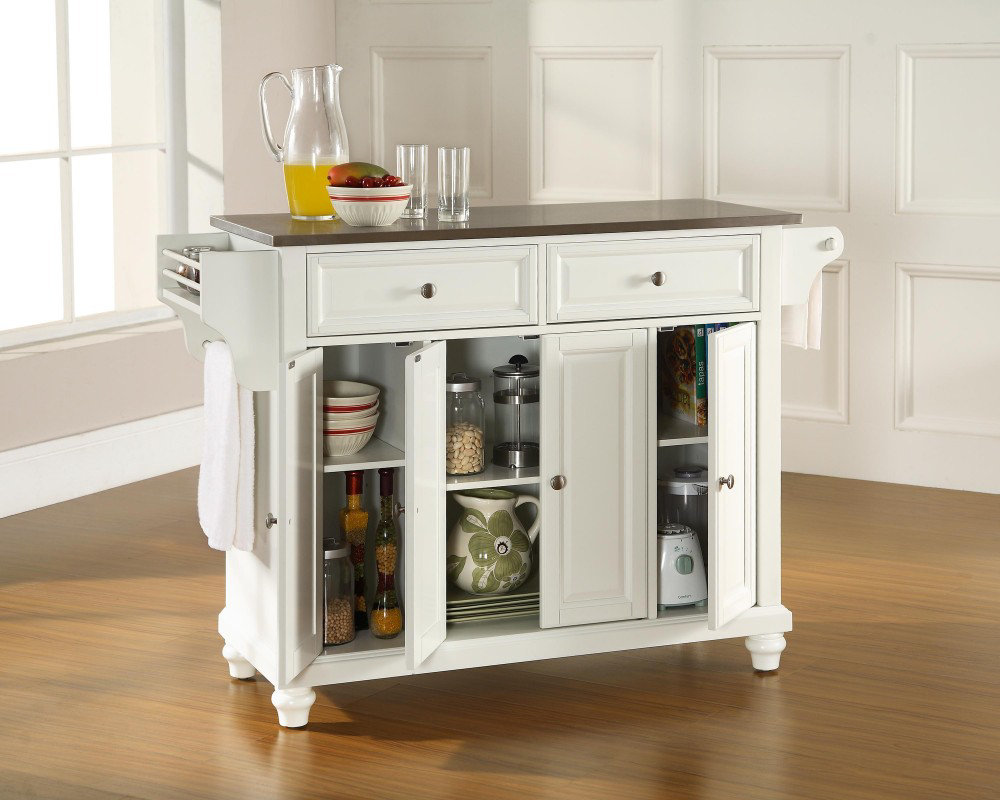 Stainless steel top kitchen cart photo - 2