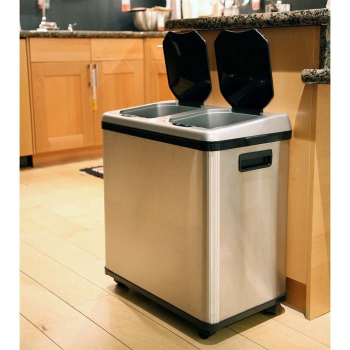 Stainless steel trash can kitchen photo - 1