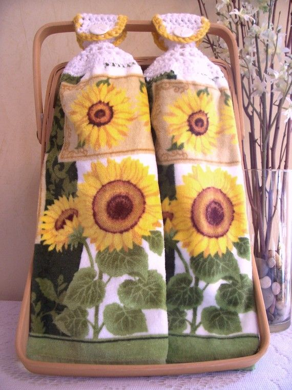 Sunflower kitchen towels photo - 2