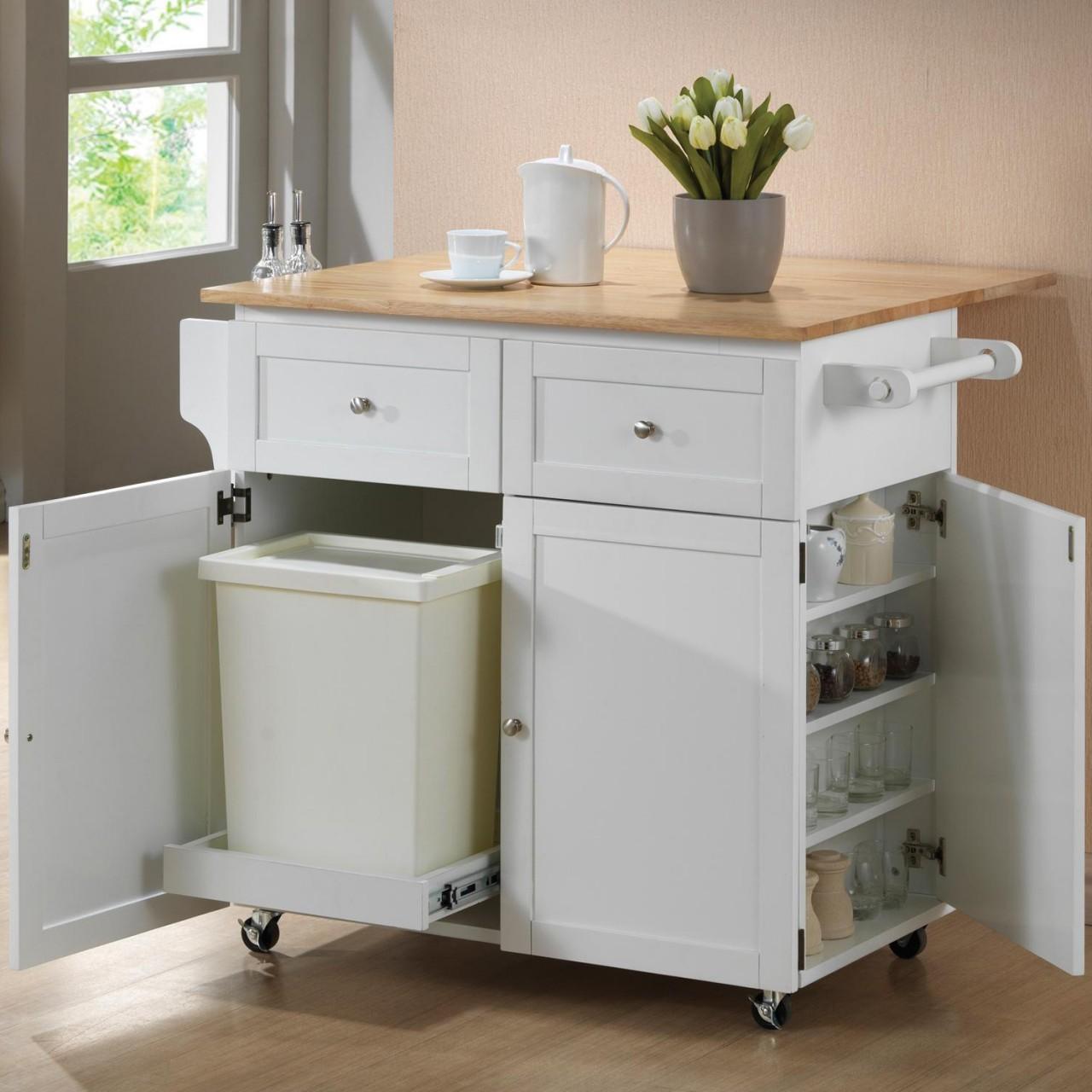 White kitchen island cart photo - 2