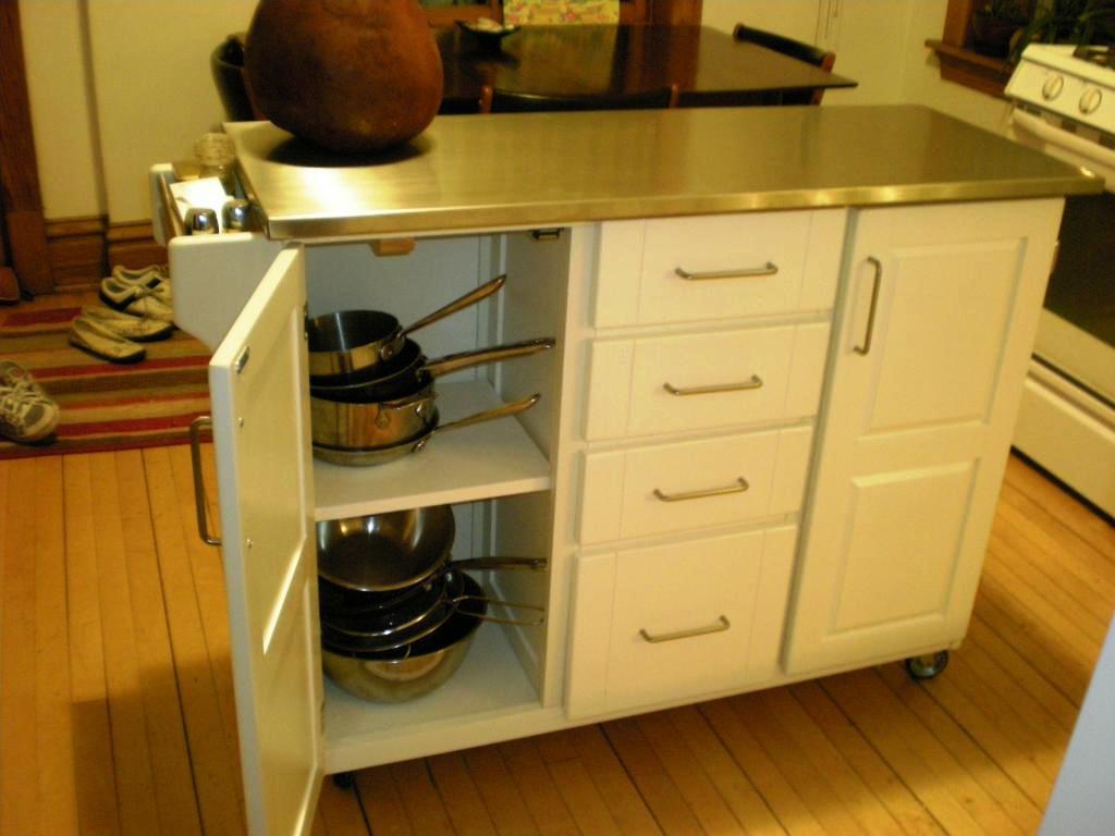 White kitchen island cart photo - 3