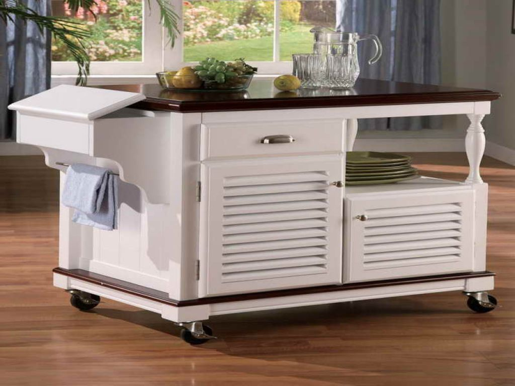 White kitchen island on wheels photo - 3