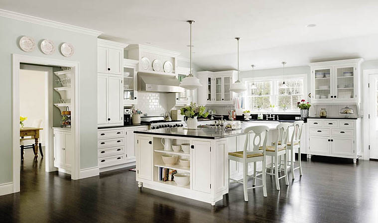 White kitchen island with stainless steel top photo - 3