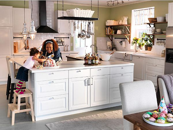White kitchen island with stools photo - 1
