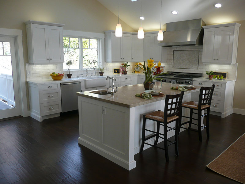 White kitchen table with bench photo - 1