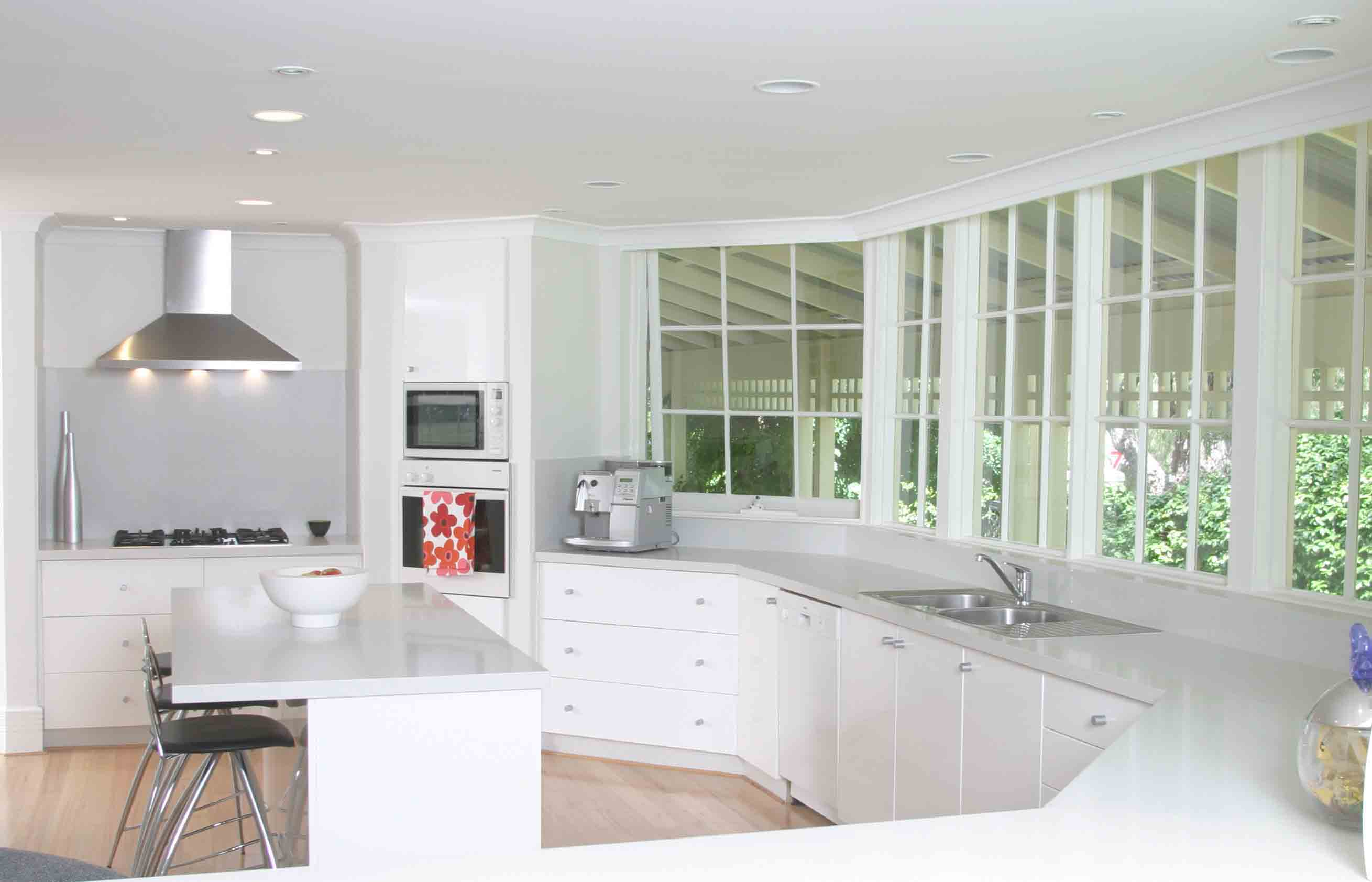 White kitchen table with bench photo - 3