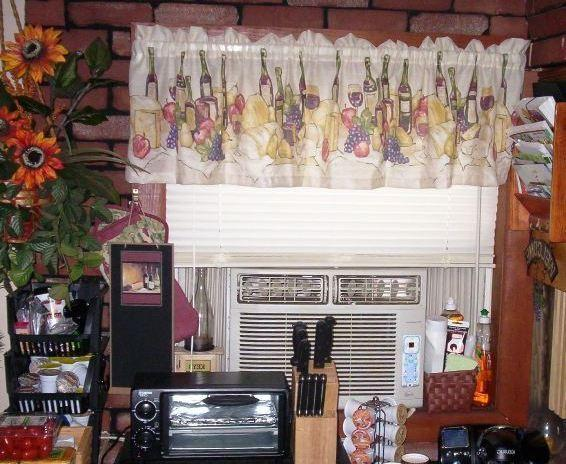 Wine themed kitchen curtains photo - 3