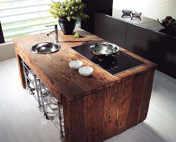 Wood kitchen island table photo - 1
