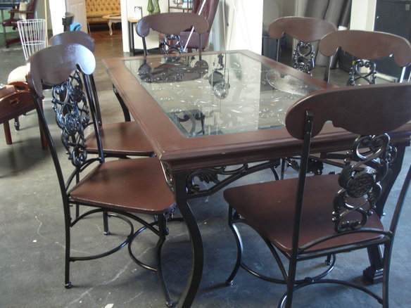 Attractive 10 Photos To Wrought Iron Kitchen Table And Chairs