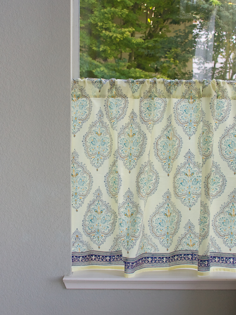Yellow and blue kitchen curtains photo - 2